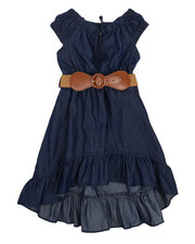 Dresses - Belted Hi Low Ruffle Chambray Dress (2T-4T)-2224380