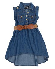 Girls - Belted Hi Low Chambray Dress (2T-4T)-2224292
