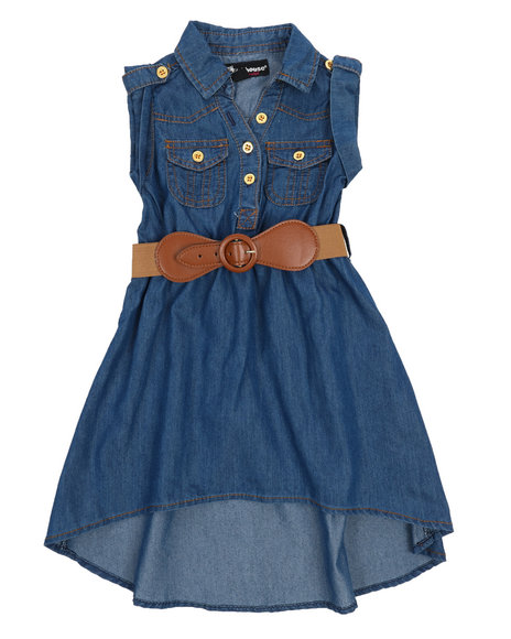 Belted Hi Low Chambray Dress (2t 4t) by Dollhouse