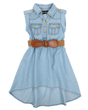 Dollhouse - Belted Hi Low Chambray Dress (2T-4T)-2224419