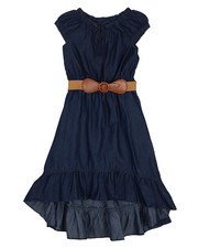 Dresses - Belted Hi Low Ruffle Chambray Dress (7-16)-2224397