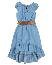 Dresses - Belted Hi Low Ruffle Chambray Dress (7-16)-2224302