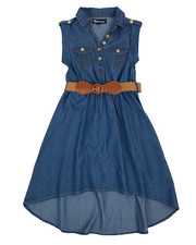 Girls - Belted Hi Low Chambray Dress (7-16)-2224288