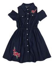 Girls - Cold Shoulder Denim Shirt Dress (7-16)-2224316