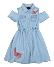 Dollhouse - Cold Shoulder Denim Shirt Dress (7-16)-2224306