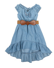 Dresses - Belted Hi Low Ruffle Chambray Dress (2T-4T)-2224384