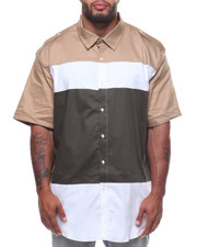 Button-downs - S/S Brown Color Block Shirt (B&T)-2228373