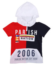 Sizes 4-7x - Kids - Stadium French Terry Nylon Block Hooded Tee (4-7)-2231467