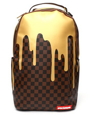 Sprayground - Gold Checkered Drips Backpack (Unisex)-2235283