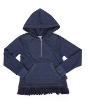 Sizes 7-20 - Big Kids - Zip Up Chambray Hooded Top (7-16)-2233727