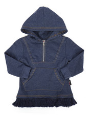 Fashion Tops - Zip Up Chambray Hooded Top (4-6X)-2233489