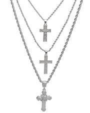 Stocking Stuffers Men - 3 Piece Cross Necklace Set-2236008