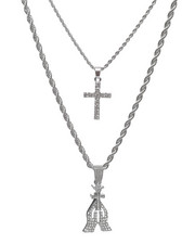 Jewelry & Watches - 2 Piece Praying Hands/Cross Necklace Set-2235969