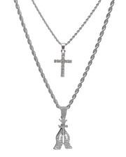 Accessories - 2 Piece Praying Hands/Cross Necklace Set-2235969