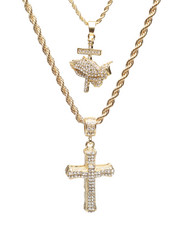 Jewelry & Watches - 2 Piece Praying Hands/Cross Necklace Set-2235963