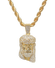 Men - Jesus Piece Rope Chain Necklace-2235954