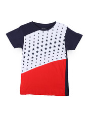 Tops - Color Block Stars Crew Neck Tee (8-20)-2236461