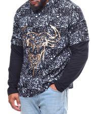 Phat Farm - Rip & Repair Metallic Printed Unbalanced Bottom Jersey Hoodie (B&T)-2237420