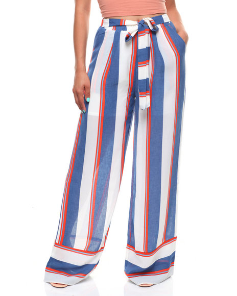 GRACIA - Stripe Wide Leg Pant/Self Belt