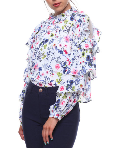 GRACIA - Floral Print Cold Shoulder Ruffle Trim Blouse