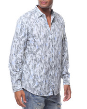 Button-downs - LS ALLOVER FEATHER PRINT BUTTONDOWN SHIRT-2242450
