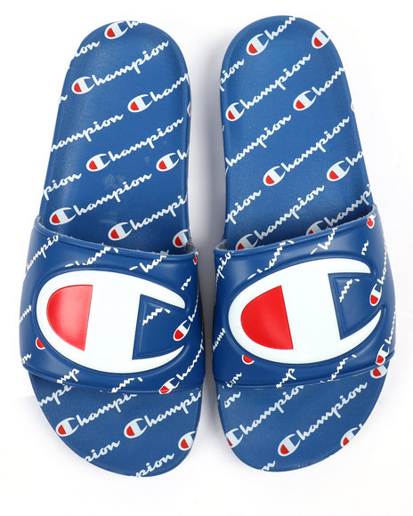 770d1aa366 Buy All Over Logo Print Slides Men's Footwear from Champion. Find ...