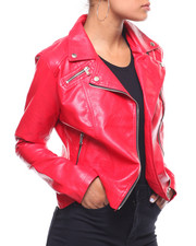 Outerwear - Faux Leather Moto Jacket-2241908