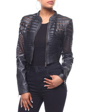 Fashion Lab - Faux Leather Shadow Stripe Jacket-2240690