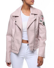 Outerwear - Studded Faux Leather Embroidered Sleeve Jacket-2241798