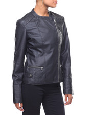 Outerwear - Faux Leather Ribbed Asymmetrical Zip Jacket-2241339