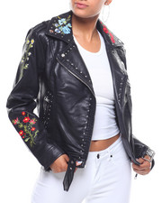 Outerwear - Studded Embroidered Faux Leather Belted Jacket-2243685