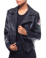 Outerwear - Studded Faux Leather Embroidered Sleeve Jacket-2240809