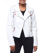 Outerwear - Faux Leather Embroidered Sleeve Moto Jacket-2241718