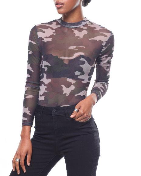 Fashion Lab - L/S Mesh Mook Neck Bodysuit