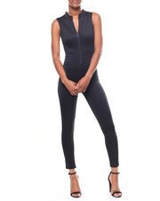 Jumpsuits - S/S Zip Mock Neck Catsuit-2246719