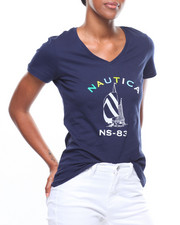 Womens-Fall - S/S Nautica V-Neck Tee-2246674