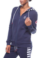 Outerwear - Sueded Fleece Zip Front Stripe Hoodie/Bk Hit-2246684