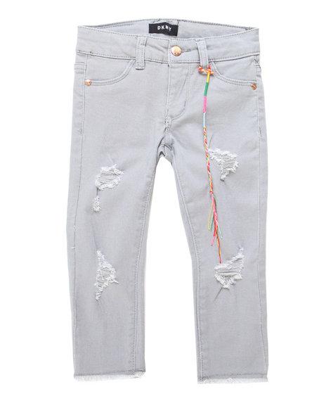 DKNY Jeans - Raw Hem Rip/Repair Twill Pants (4-6X)