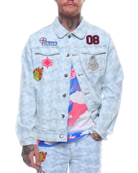 Pink Dolphin - CHECKERED DENIM JACKET