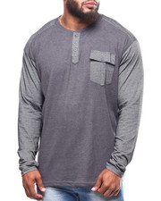 Shirts - Thermal Henley/Yarn Dye Jersey Sleeves & Pocket (B&T)-2251601