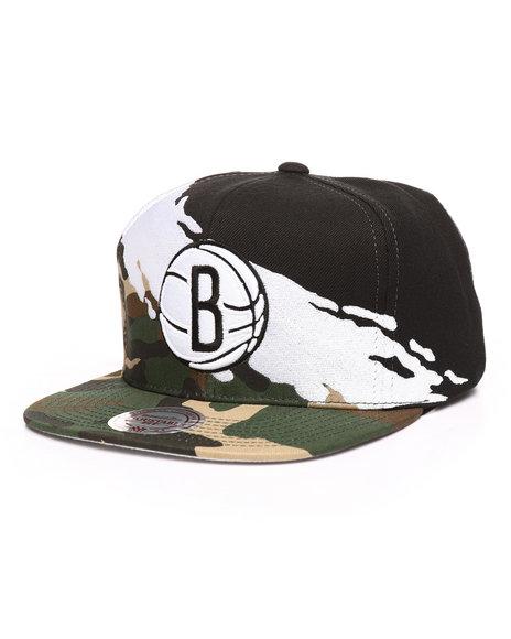 Buy Brooklyn Nets Camo Paintbrush Snapback Hat Men s Hats from ... d3e141ad26d