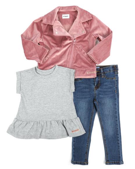 Hudson Outerwear - 3 Piece Velvet Jacket Set (2T-4T)