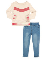 Girls - 2 Piece French Terry Pullover & Denim Legging Set (2T-4T)-2250066