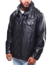 Heavy Coats - Faux Leather Hoodie Trucker Jacket (B&T)-2253579
