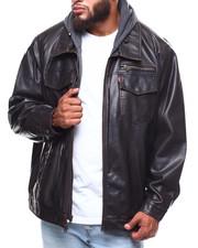 Heavy Coats - Faux Leather Hoodie Trucker Jacket (B&T)-2253575