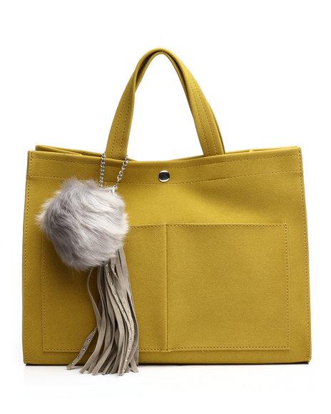 Fashion Lab - Faux Suede Tote w/Pom Charm