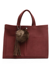 Black Friday Deals - Faux Suede Tote w/Pom Charm-2250843