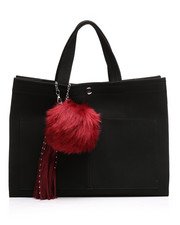 Black Friday Deals - Faux Suede Tote w/Pom Charm-2251919