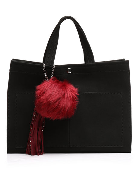 Fashion Lab - Faux Suede Tote w/Pom Charm