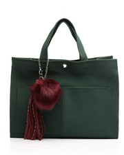 Black Friday Deals - Faux Suede Tote w/Pom Charm-2251921